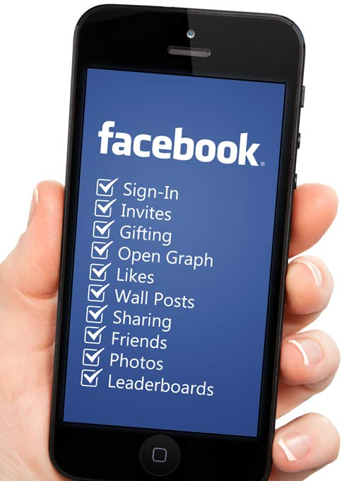 iPhone showing a list of Facebook features in the GoViral ANE.